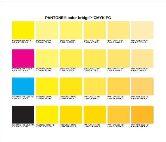 cmyk color chart simple
