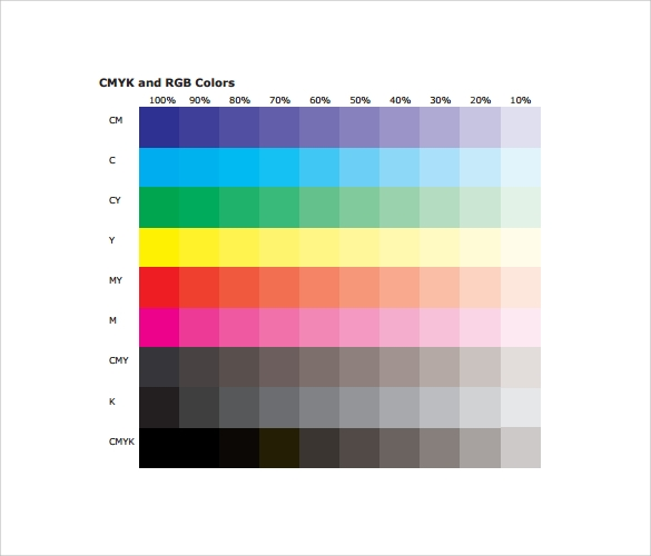 Sample RGB Color Chart Templates
