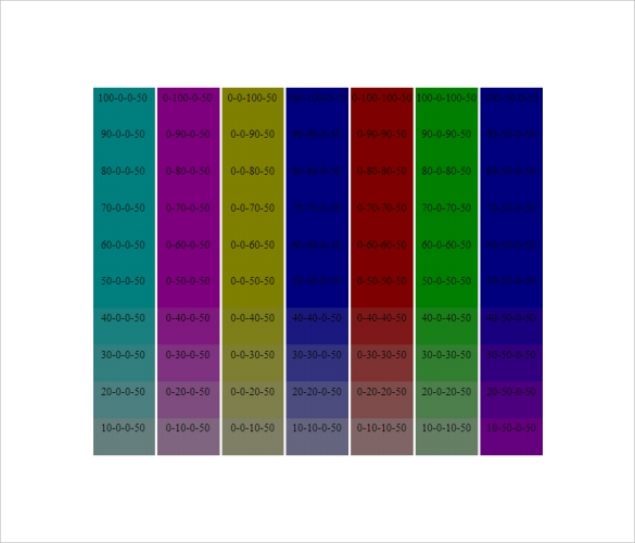 Sample Cmyk Color Chart - Documents In Pdf, Word