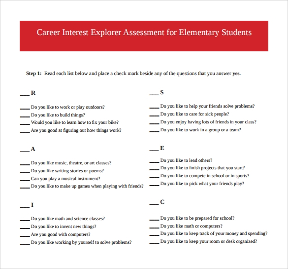 career interest explorer assessment