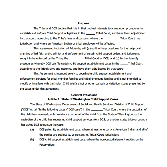 Sample child support agreement 7 example format child support agreement to print platinumwayz