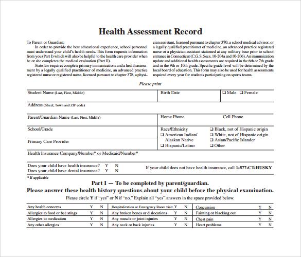 sample health assessment