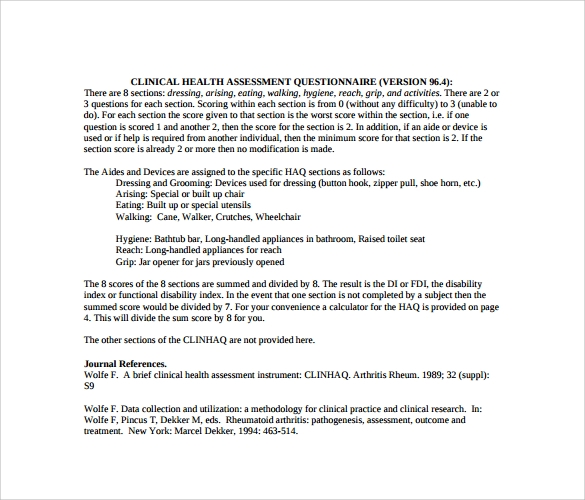 clinical health assessment questionnaire