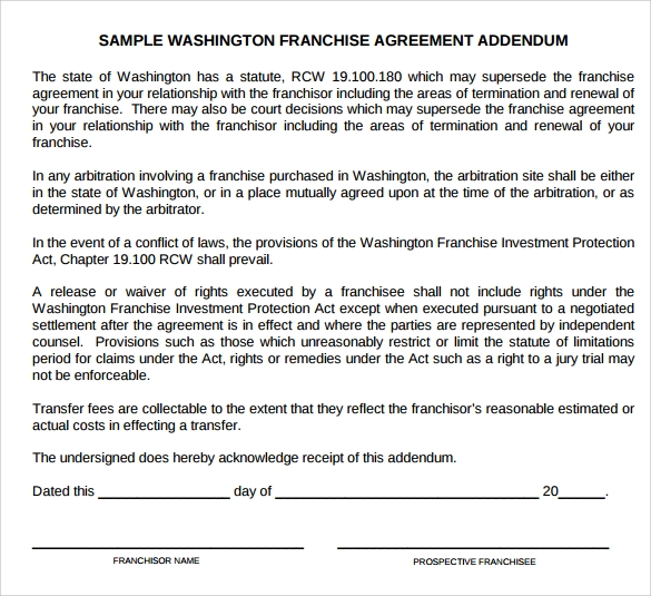 Sample Franchise Agreement 8 Documents In PDF Word – Sample Franchise Agreement