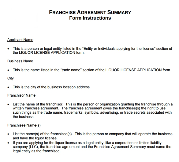 Sample Franchise Agreement   Documents In Pdf Word
