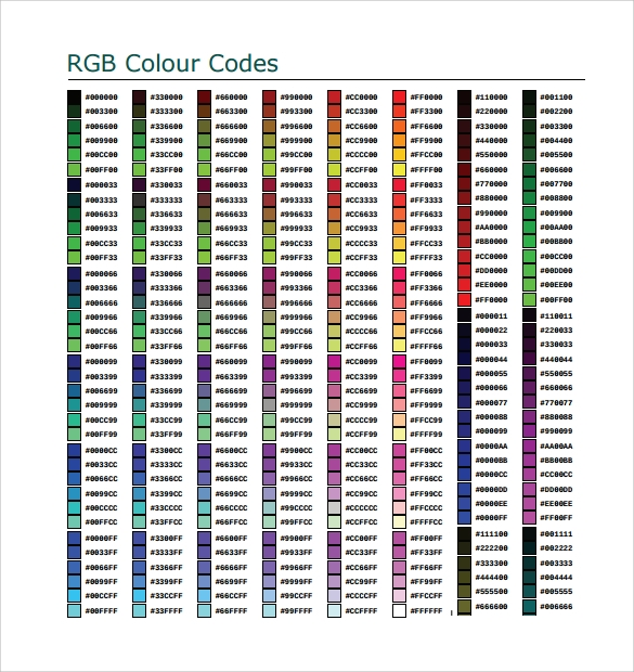 8 Sample Html Color Code Chart Templates Sample Templates