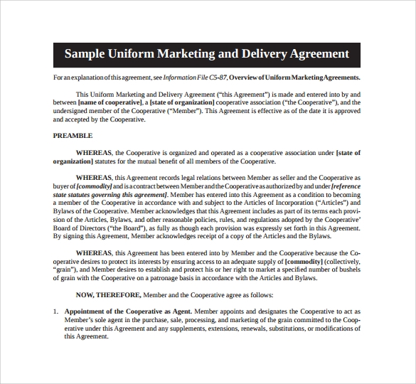 sample uniform marketing agreement%ef%bb%bf
