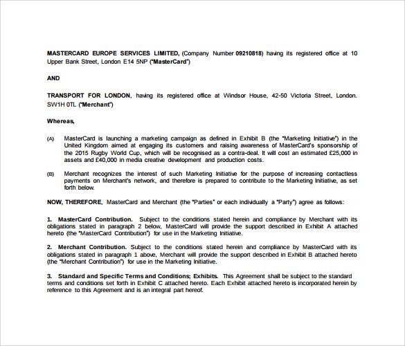 merchant marketing agreement