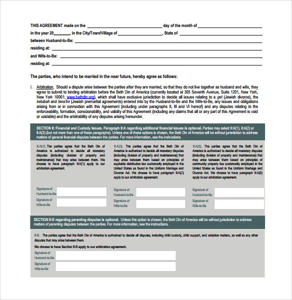sample prenuptial agreement