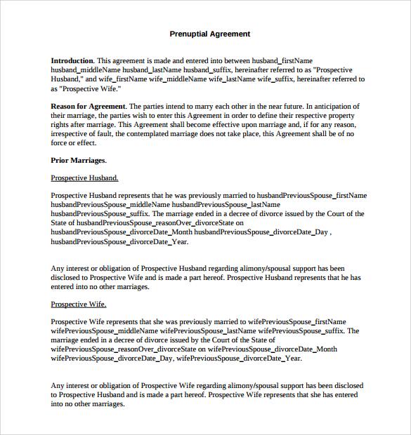 pritable prenuptial agreement free