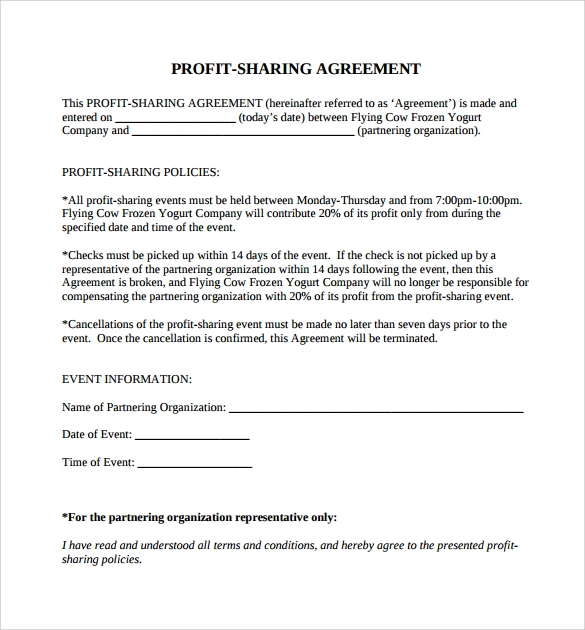 11 sample profit sharing agreements sample templates for Profit share agreement template