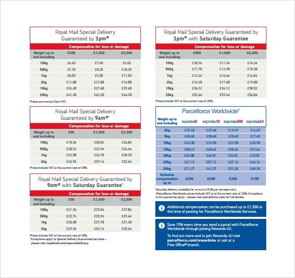 Price List Template 9 Free Samples Examples Format