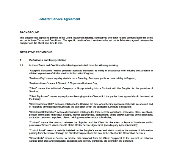 Doc600700 Sample Master Service Agreement Master Service – Sample Master Service Agreement