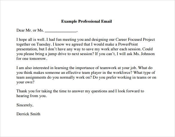 Example Of Email – Printable Editable Blank