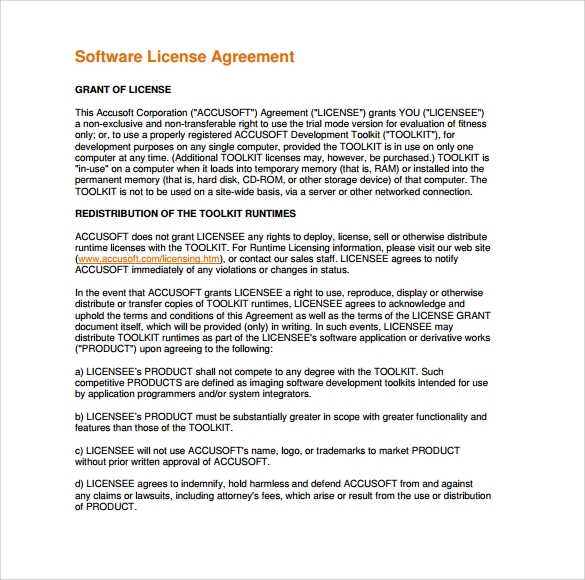 an examination of software licensing agreements Commercial license evaluation license consulting/service license non-profit   government license developer license mutual non-disclosure agreement.