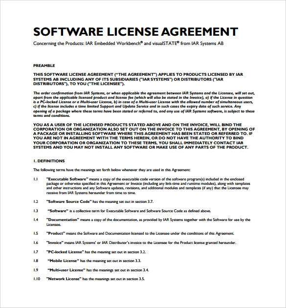 8 software license agreement samples sample templates for Product license agreement template