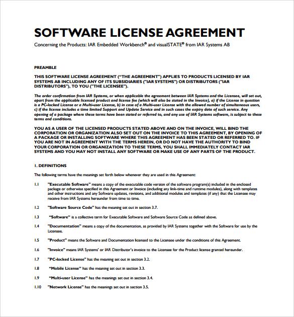 sample end user license agreement