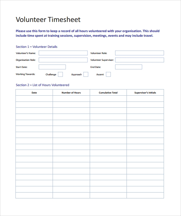 11 Volunteer Timesheet Samples Sample Templates