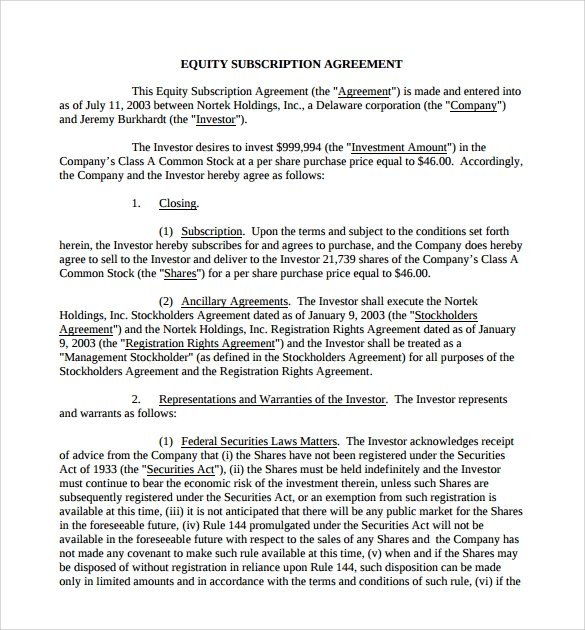 equity subscription agreement template
