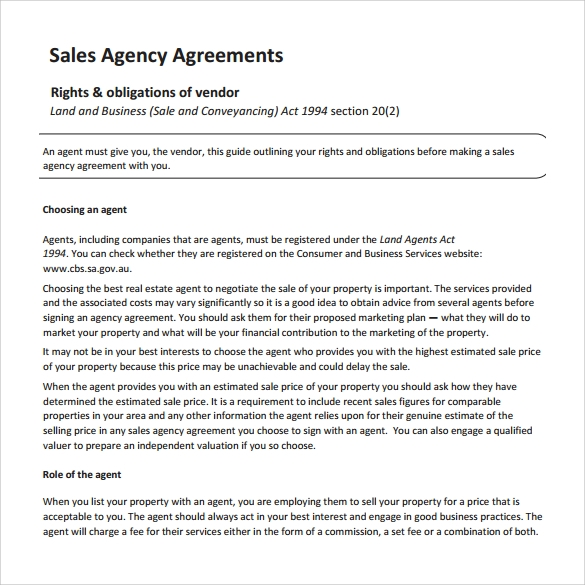 Sales Contract Layout