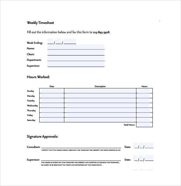 simple weekly timesheet form