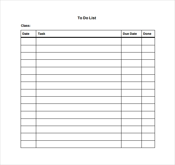 Doc.#800600: Sample To Do Checklist Template – To Do List Sample