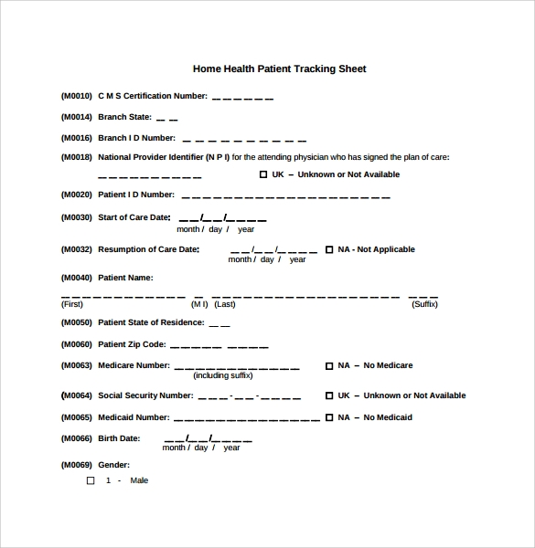 home health patient tracking sheet