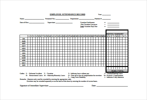 Sample Attendance Tracking   Documents In Pdf