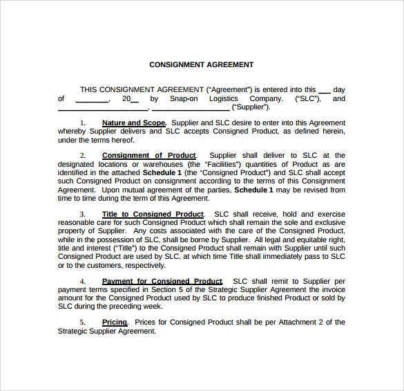 Sample Consignment Agreement 8 Example Format – Sample Consignment Agreement
