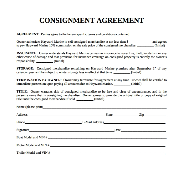 9 sample consignment agreements sample templates for Free consignment stock agreement template