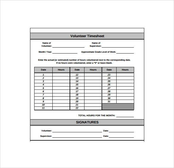 11+ Volunteer Timesheet Samples | Sample Templates