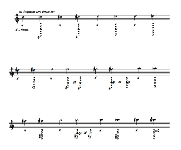 print saxophone fingering chart