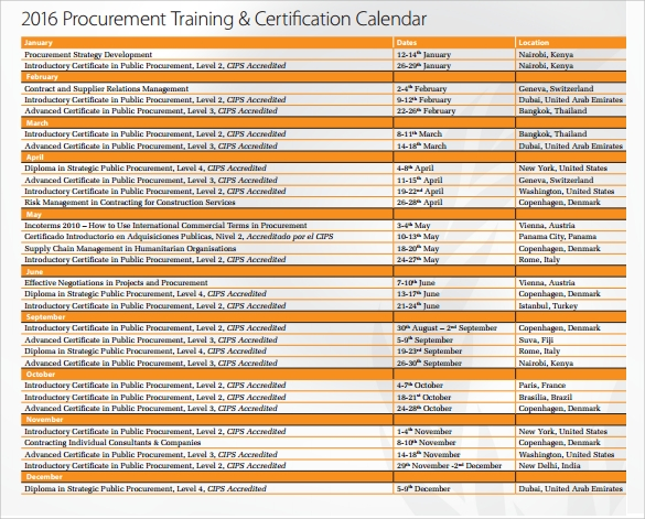 Training Calendar   Free Samples  Examples  Format