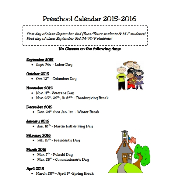 free preschool calendar template
