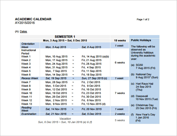 9 academic calendar templates  u2013 free samples  examples
