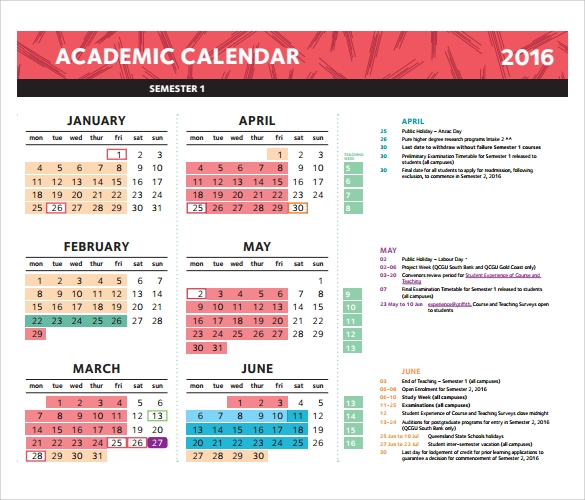 example of academic calendar