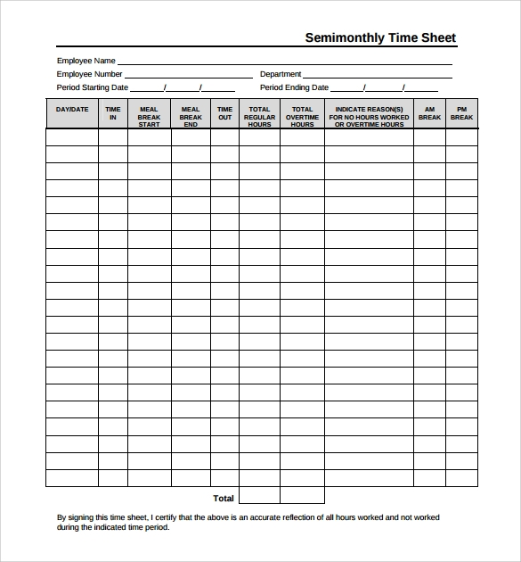 monthly time sheets