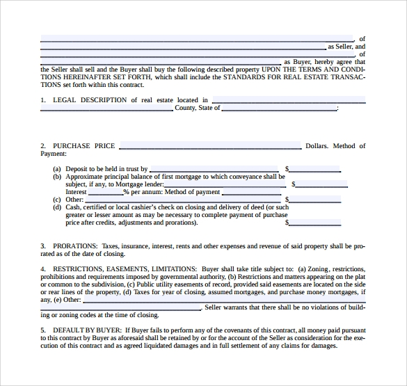 print real estate purchase agreement template