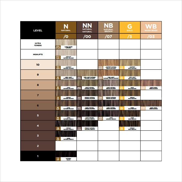 11 Sample Hair Color Chart Templates Sample Templates
