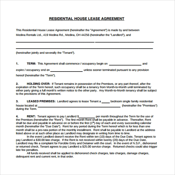 residential house lease agreement pdf