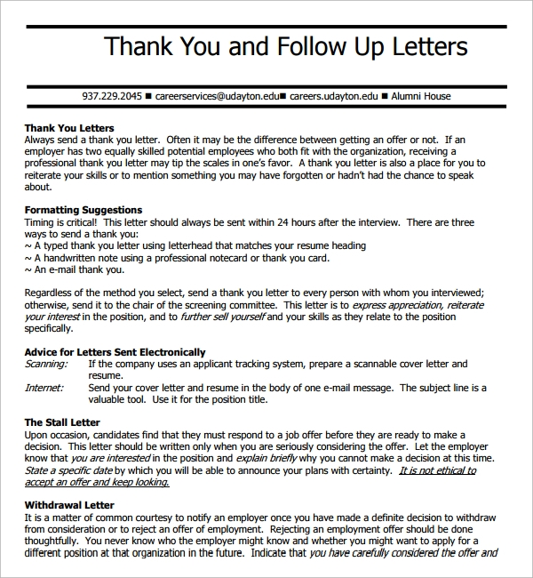 Sample Thank You Letter After Interview     Plus Best Templates