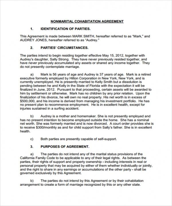 non marital cohabitation agreement