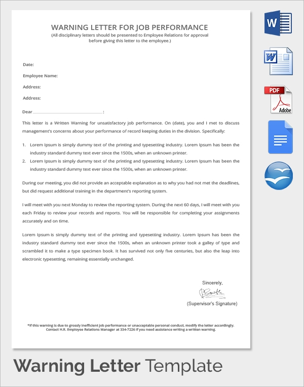 Sample warning letter 15 free documents in pdf word job performance warning letter altavistaventures Image collections