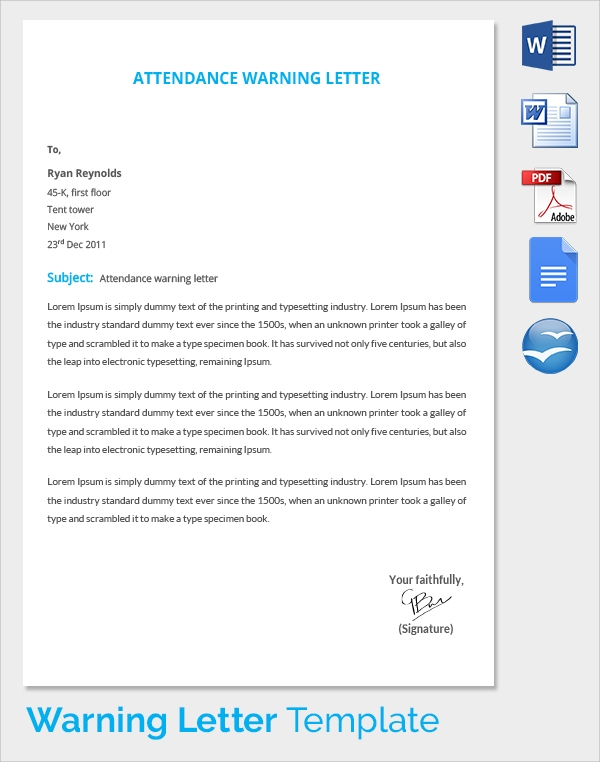 10 Performance Warning Letter Template  7 Free Word