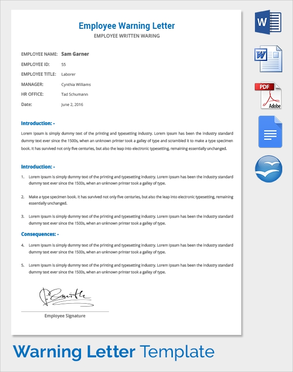 Sample warning letter 15 free documents in pdf word
