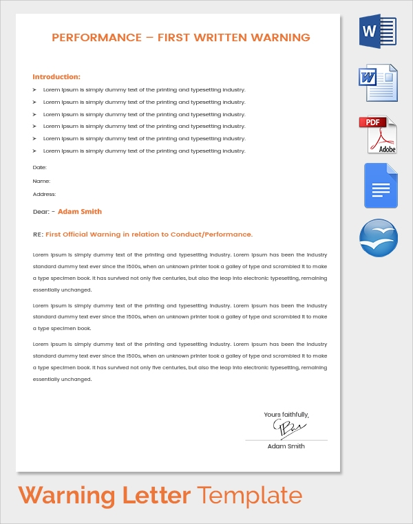 performance warning letter template