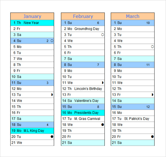2015 calendar templates � 7 free samples examples