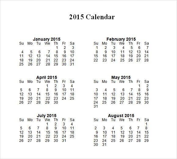 2015 Calendar Templates 7 Free Samples Examples Format Sample