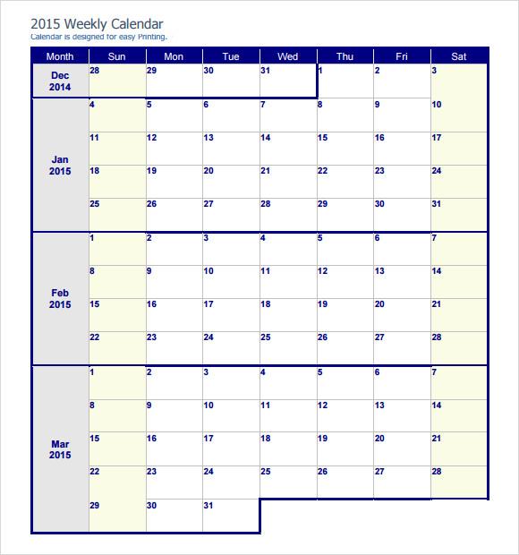 2015 weekly calendar