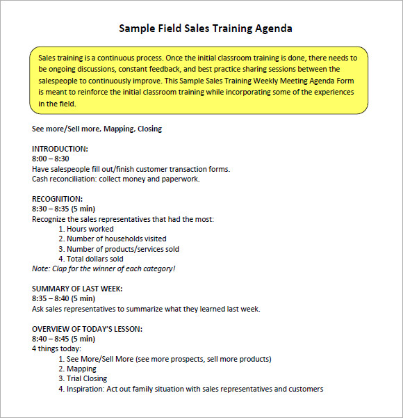 training meeting agenda template – Training Agenda Sample
